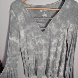 Aerie Soft & Sexy Tie-Dyed Tee with Flared Wrists
